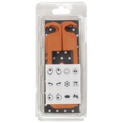 skibat orange et noir avec emballage et choix de stickers.