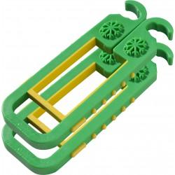 skibat vert et jaune avec flocon.